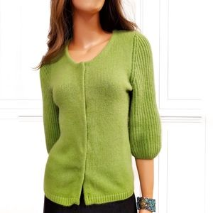 ANN TAYLOR Angora Ribbed Button Sweater Small